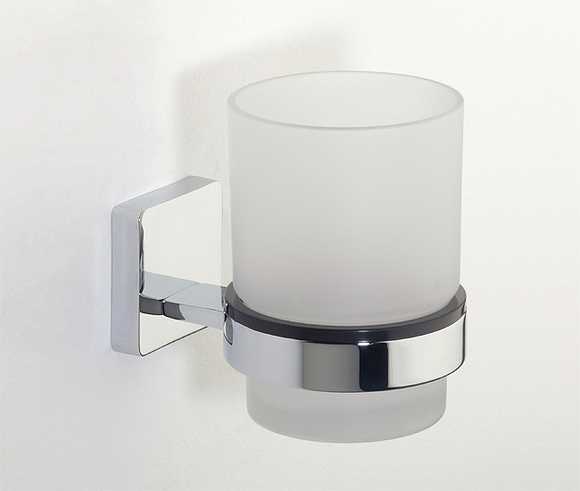 Roper Rhodes Glide 9516.02 Frosted Glass Tumbler And Holder Chrome