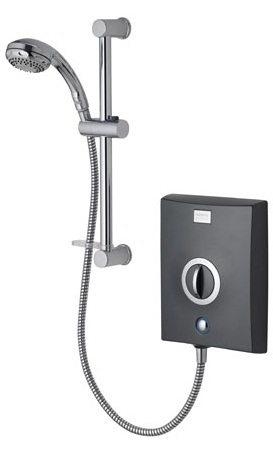 Aqualisa QZE9511 Quartz Electric Shower 9.5kw with Adjustable Height Head Graphite/ Chrome