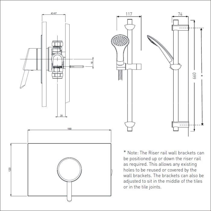 Bristan | Acute | AE SHCAR C | Complete Shower | Technical Drawing