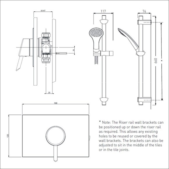Bristan | Acute | AE SHCAR C | Complete Shower | Technical Drawing