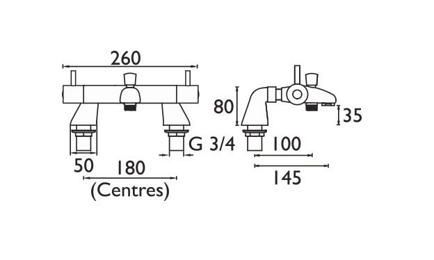 Bristan | Artisan | AR2THLBSMC | Bath Shower Mixers | Technical Drawing
