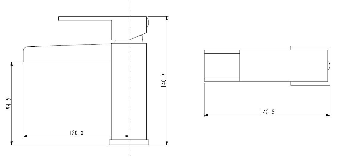 Bristan | Hampton | HABASNWC | Basin Mixers | Technical Drawing