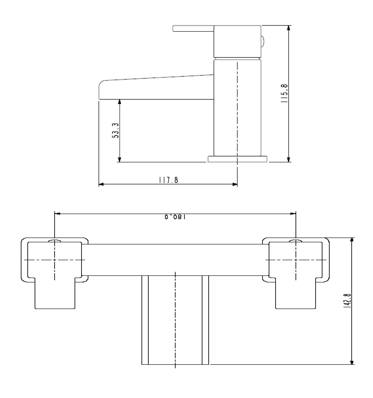 Bristan | Hampton | HABFC| Bath Mixer/Fillers | Technical Drawing