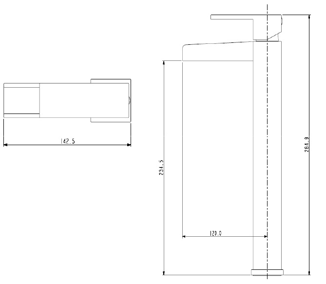 Bristan | Hampton | HATBASC| Basin Mixers | Technical Drawing