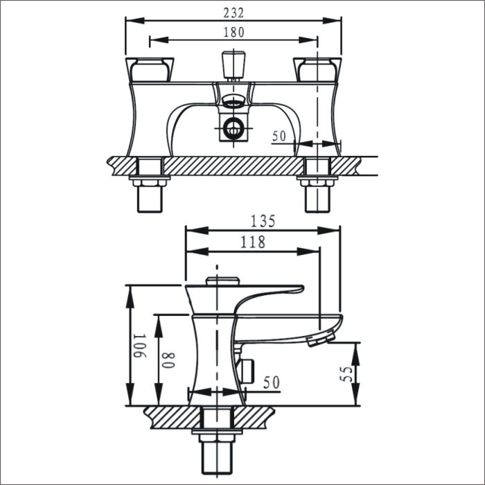 Bristan | Hourglass | HOUBSMC| Bath Shower Mixers | Technical Drawing