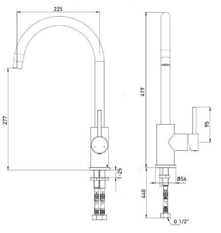 Bristan | Pistachio | PSTEFSNKC | Kitchen Mixer | Technical Drawing
