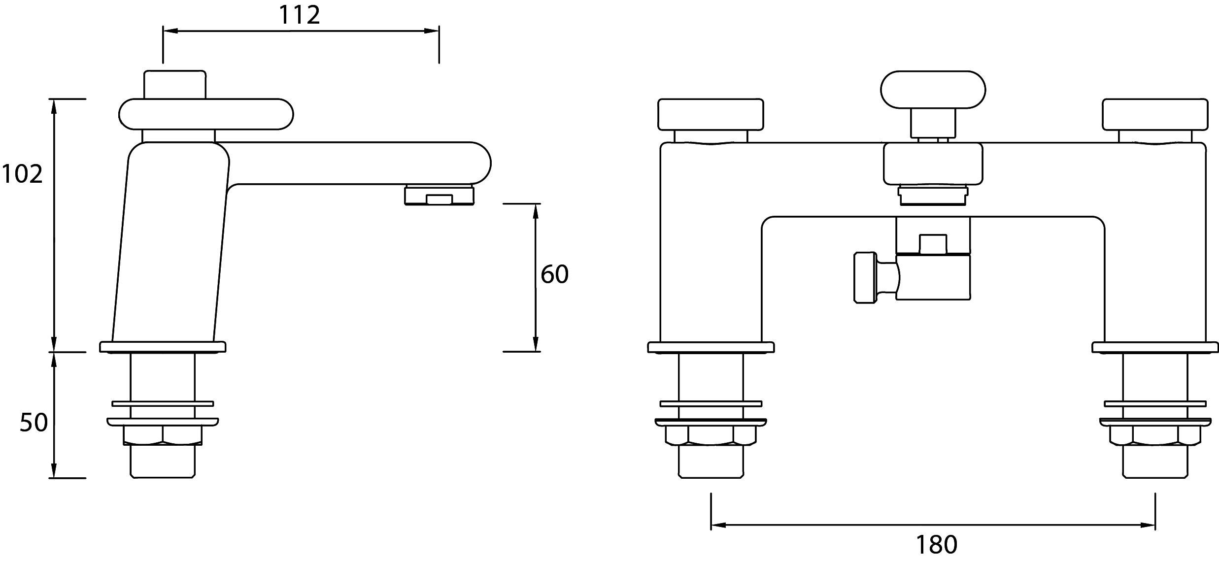 Bristan | Pivot | PIVBSMC| Bath Shower Mixers | Technical Drawing