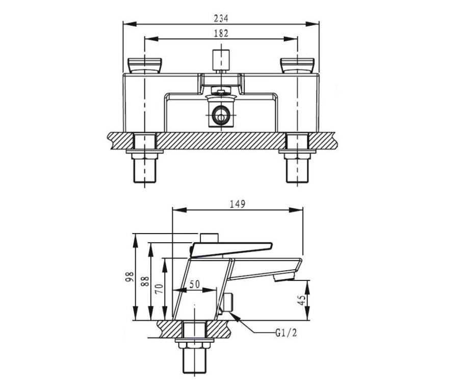 Bristan   Sail   SAIBSMC   Bath Fillers   Technical Drawing