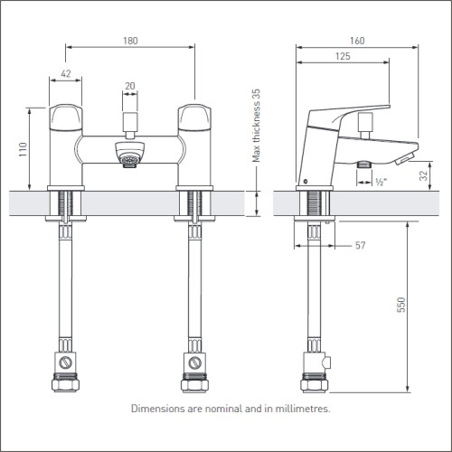 Bristan | Vantage | VTBSMC| Bath Shower Mixers | Technical Drawing