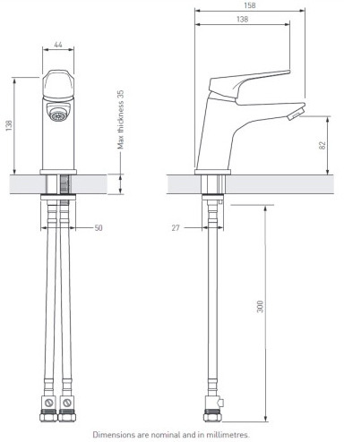 Bristan | Vantage | VTBASNWC| Basin Mixers | Technical Drawing