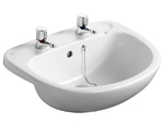 Ideal Standard E178001 Studio 56cm Semi Countertop Basin for Square Edged Countertops 2 Taphole White