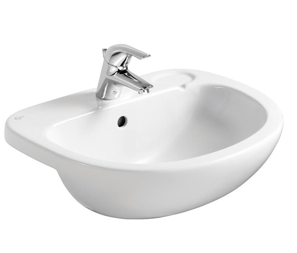 Ideal Standard E200001 Studio 56 Semi Countertop Basin for Square Edged Countertops 1 Taphole White