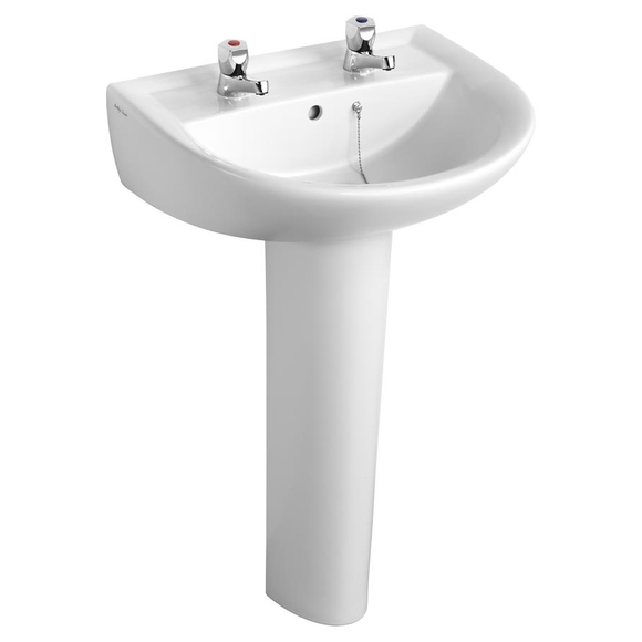 Armitage Shanks Sandringham 21 S049601 550x460 2 Tap Hole Wall Mounted Basin To Go Boxed Pack