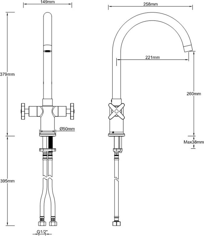 Bristan   Design Utility   DUX SNKEF   Kitchen Sink Mixers   TD