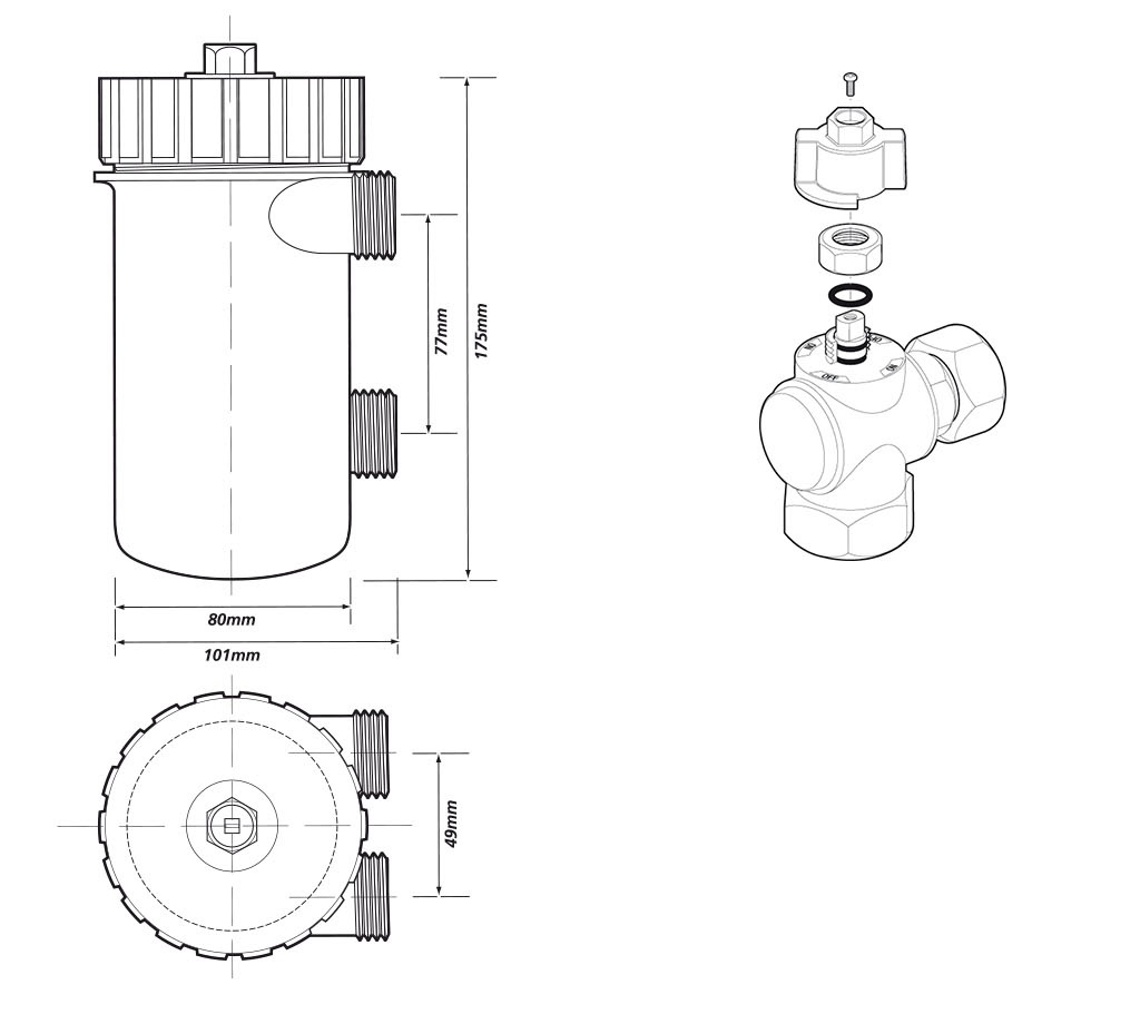 Adey | Magnaclean | 608001 | Heating Protection | Dimensions