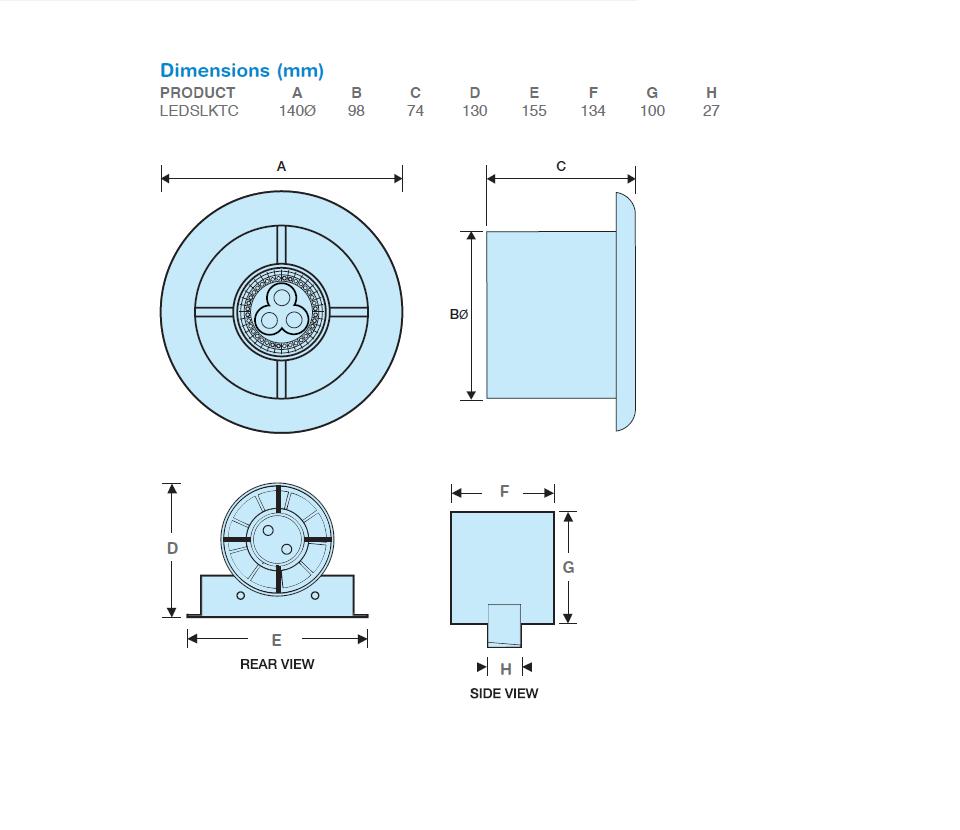 Manrose | LED Showerlite Range | SLKTC | 100mm Timer Controlled | Extractor Fan | Tech