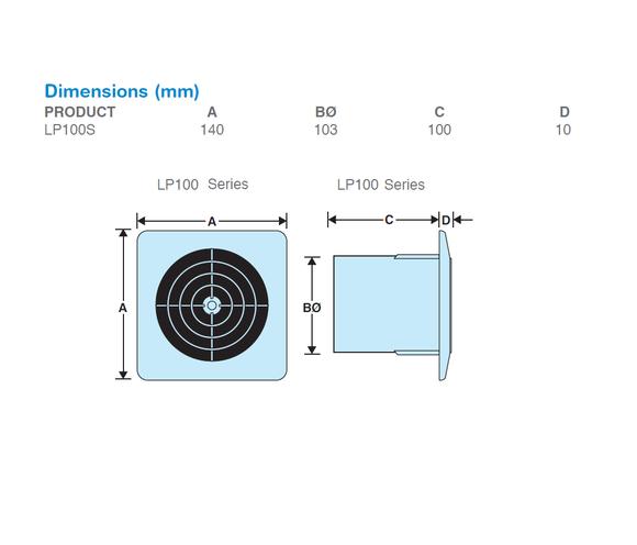 Manrose | Lo Profile Range | LP100S | 100mm Fan Accessories | Extractor Fan | Tech