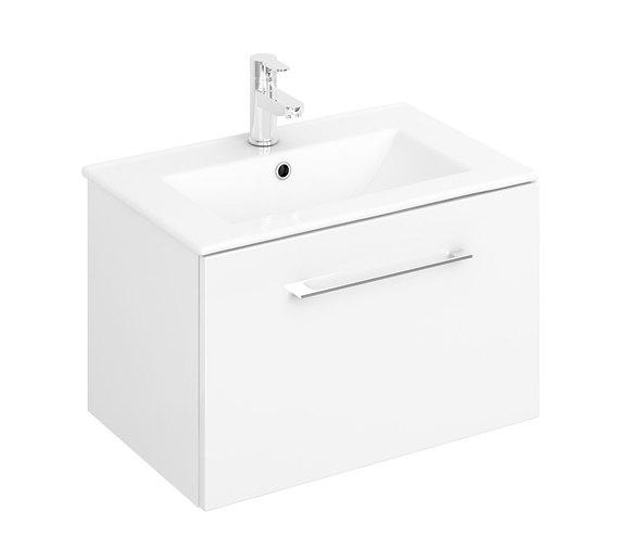 Lecico Carlton CAWMUSL1GW 1 Drawer Wall Mounted Unit & Basin Gloss White