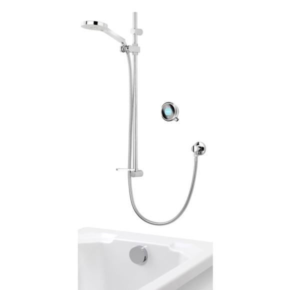 Aqualisa Q QTC.02.BT.HP Digital Shower with Adjustable Head & Bath Overflow Filler HP/Combi