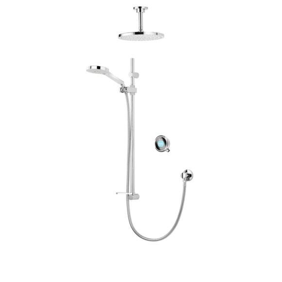 Aqualisa Q QTC.02.FC.HP Digital Shower with Adjustable Head & Fixed Ceiling Heads HP/Combi