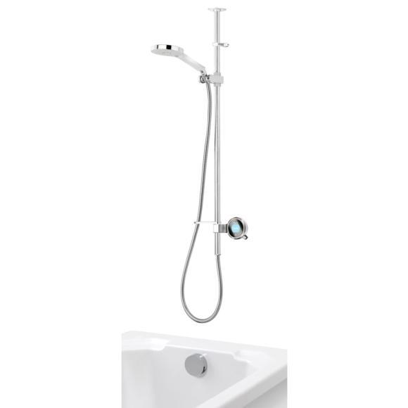 Aqualisa Q QTE.02.BT.GP Digital Shower with Adjustable Head & Bath Overflow Filler Gravity Pumped