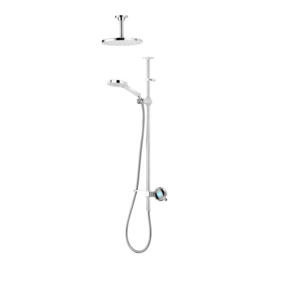 Aqualisa Q QTE.02.FC.GP Digital Shower with Adjustable Head & Fixed Ceiling Heads Gravity Pumped