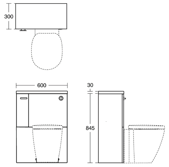 Ideal Standard | Concept Space | E0432WG | Wc Unit | Tech Drawing