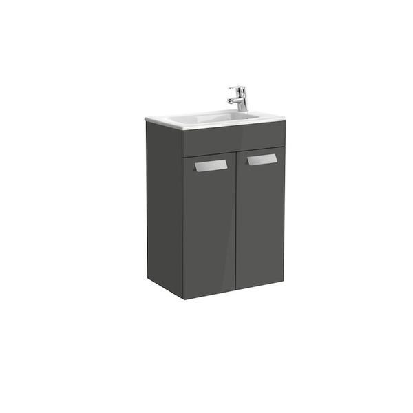 Roca Debba A855900153 500mm Compact Basin Unit and Basin Pack Gloss Anthracite Grey