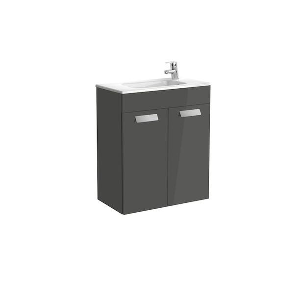 Roca Debba A855901153 600mm Compact Basin Unit and Basin Pack Anthracite Grey
