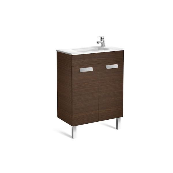 Roca Debba A855901154 600mm Compact Basin Unit and Basin Pack Textured Wenge