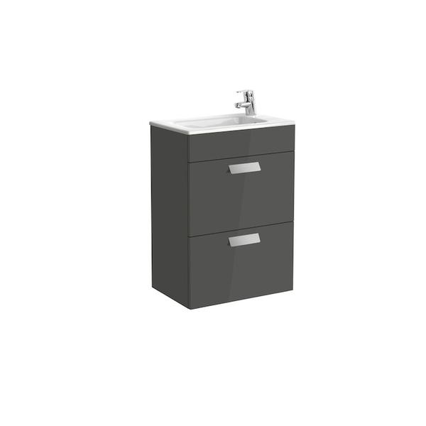 Roca Debba A855904153 500mm Compact Basin Unit and Basin Pack Gloss Anthracite Grey