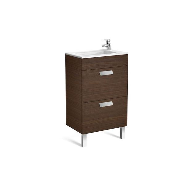 Roca Debba A855904154 500mm Compact Basin Unit and Basin Pack Textured Wenge