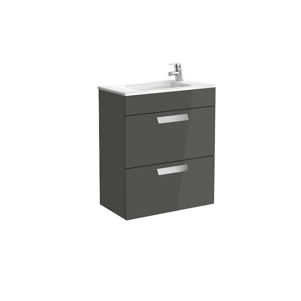 Roca Debba A855905153 600mm Compact Basin Unit and Basin Pack Anthracite Grey