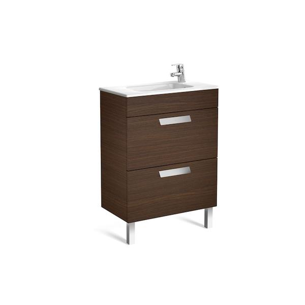 Roca Debba A855905154 600mm Compact Basin Unit and Basin Pack Textured Wenge