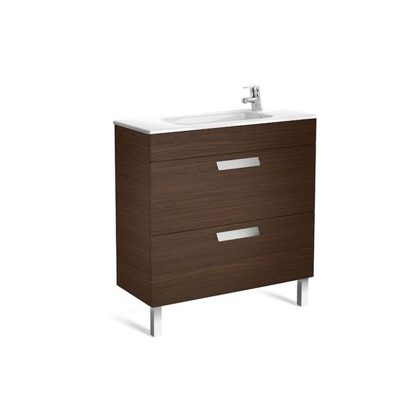 Roca Debba A855907154 800mm Compact Basin Unit and Basin Pack Textured Wenge