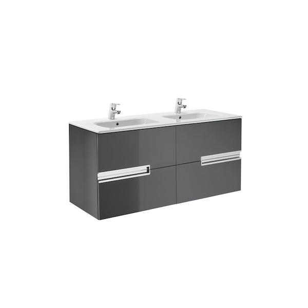 Roca Victoria-N A855830153 1200mm Basin Unit and Basin Pack Gloss Anthracite Grey