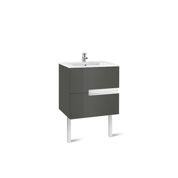 Roca Victoria-N A855834153 600mm Basin Unit and Basin Pack Gloss Anthracite Grey