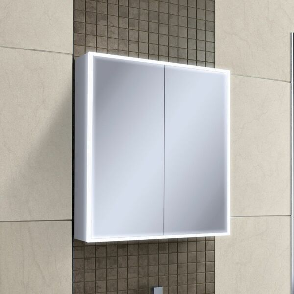 HIB Qubic 46600 700 x 800mm LED Mirrored Cabinet