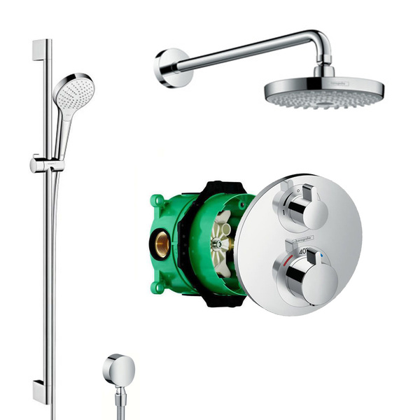 hansgrohe Ecostat S 88101001 Round Valve With Croma Select 180 Fixed Head and Rail Kit