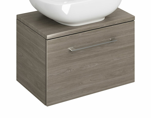 Lecico Carlton CAWMU1DE 600mm 1 Drawer Wall Mounted Unit & Worktop Dark Elm