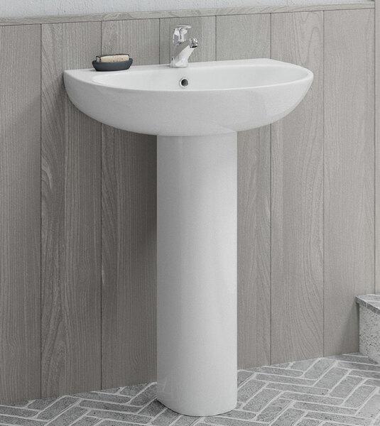Lecico Designer Series 5 DS560BA2SET 600mm 2 Tap Hole Basin & Full Pedestal Set