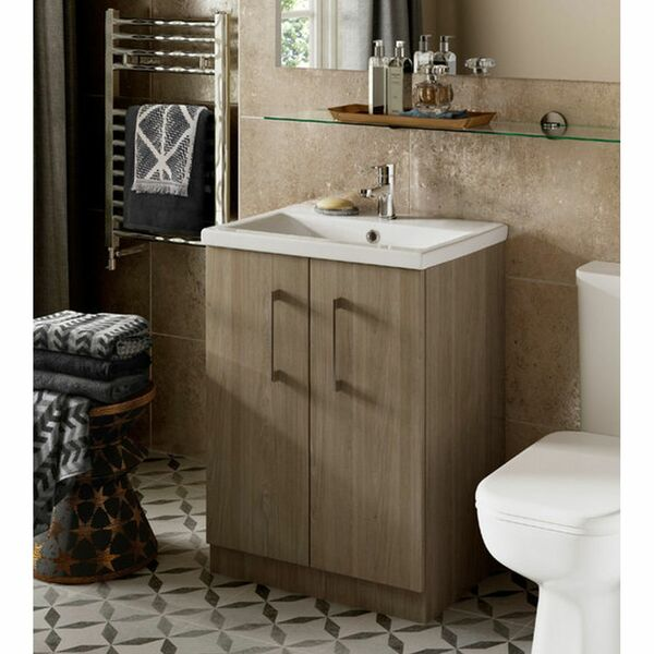 Lecico Linton LIVUGR 600mm Floorstanding Unit & Basin Gloss Grey