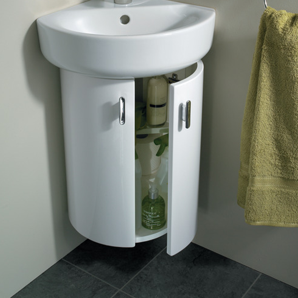 Ideal Standard | Concept | E6848WG | Gloss White | Corner Basin Unit | Lifestyle