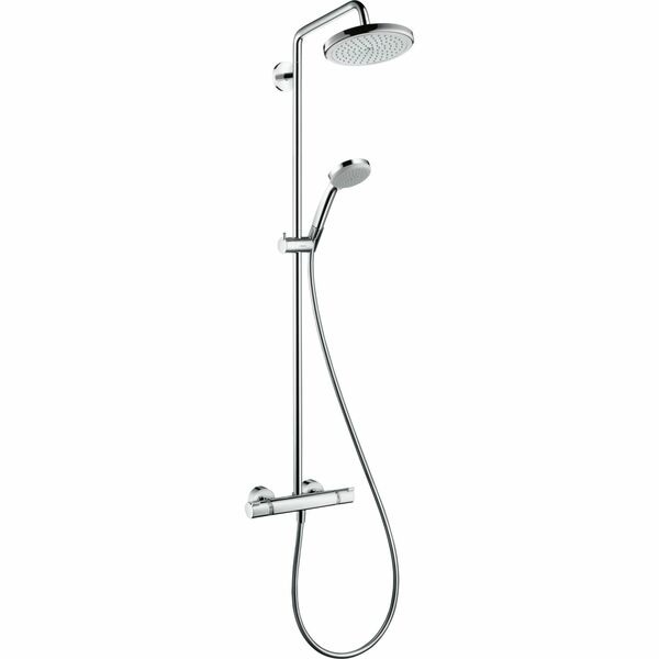 hansgrohe Croma 27185000 Showerpipe 220 1jet with thermostatic shower mixer