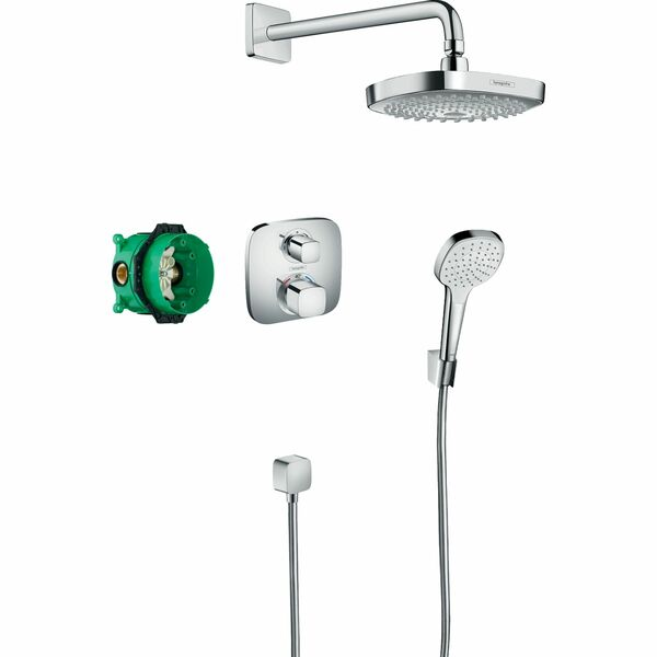 hansgrohe Croma Select E 27294000 Shower system with Ecostat E thermostatic mixer for concealed installation