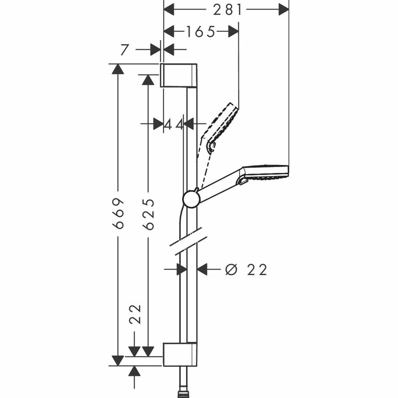hansgrohe   Crometta   26532400   Shower Kit   Technical Drawing