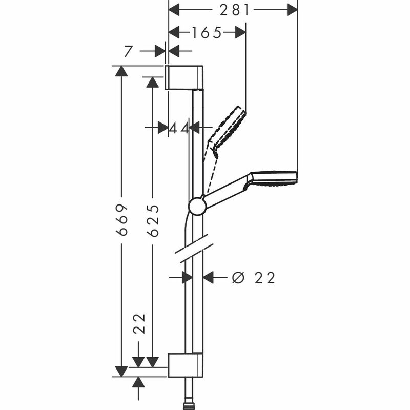 hansgrohe | Crometta | 26533400 | Shower Kit | Technical Drawing