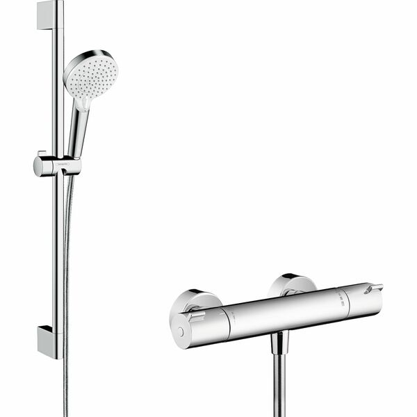 hansgrohe Crometta 27812400 Shower system 100 Vario with Ecostat 1001 CL thermostatic mixer and shower rail 65 cm