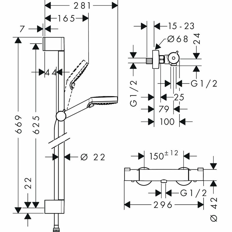 hansgrohe   Crometta   27812400   Multiple   Complete Shower   Technical Drawing