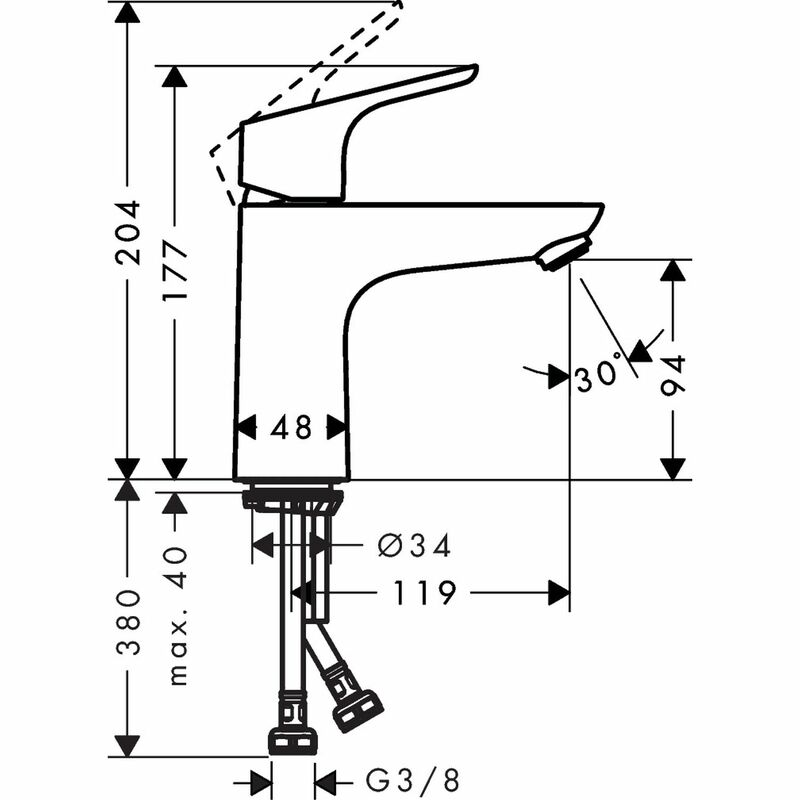 hansgrohe | Focus | 31517000 | Basin Mixer | Technical Drawing
